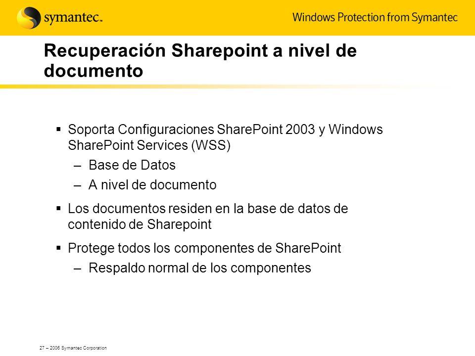 Recuperación Sharepoint a nivel de documento