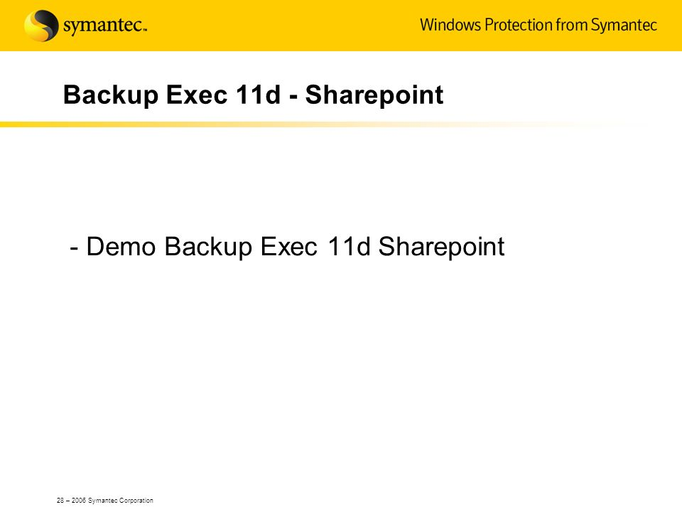 Backup Exec 11d - Sharepoint