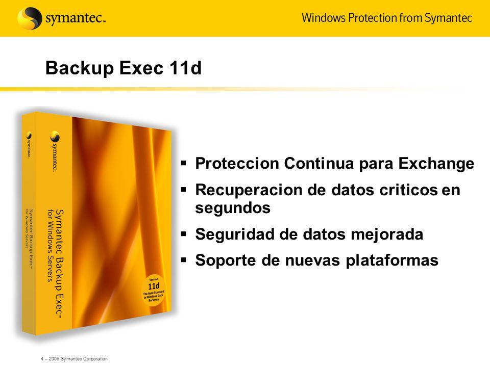 Backup Exec 11d Proteccion Continua para Exchange