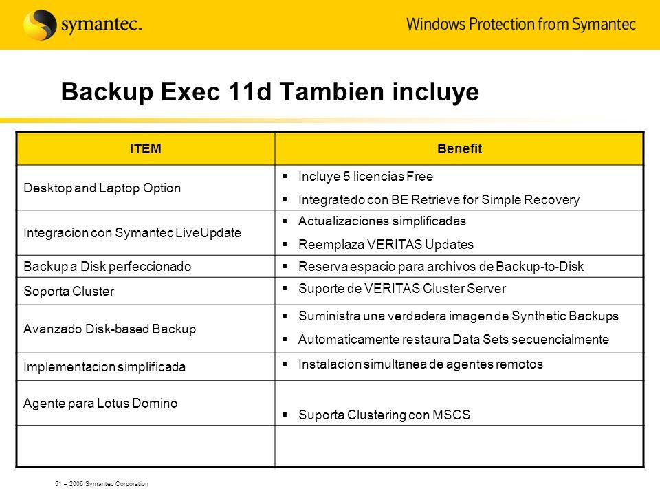 Backup Exec 11d Tambien incluye