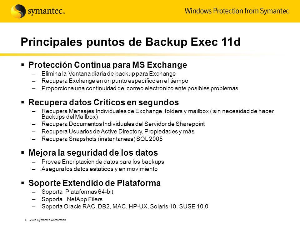Principales puntos de Backup Exec 11d