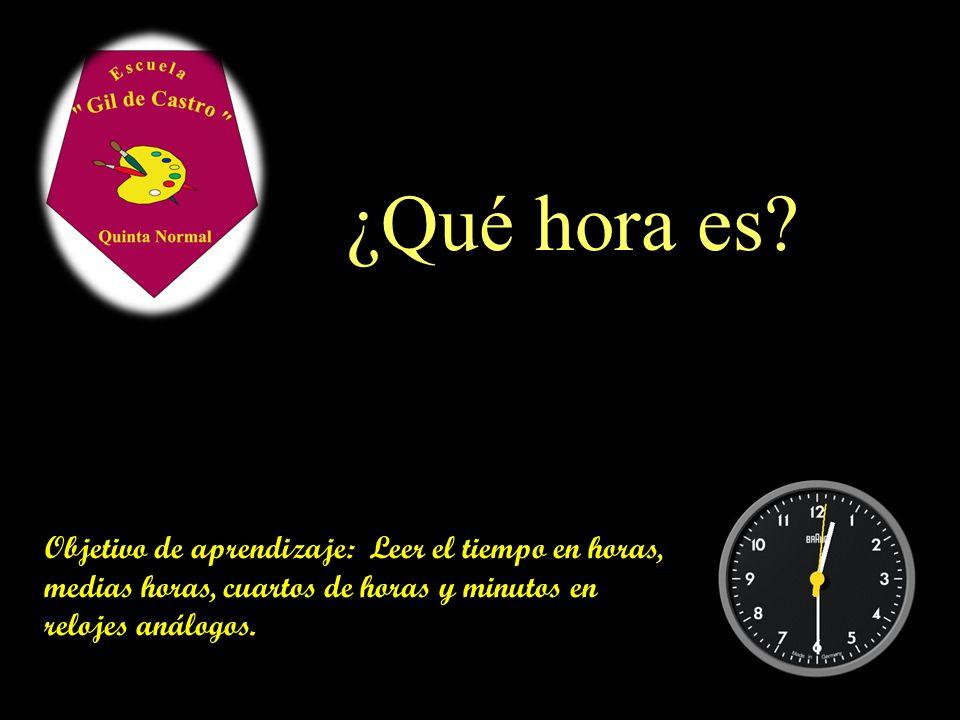 ¿Qué hora es Leer y registrar el tiempo en. horas, medias horas, cuartos de horas y minutos en relojes análogos y digitales.