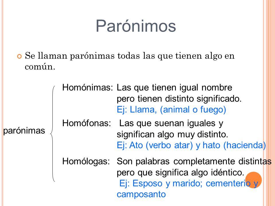 Parónimos Se llaman parónimas todas las que tienen algo en común.