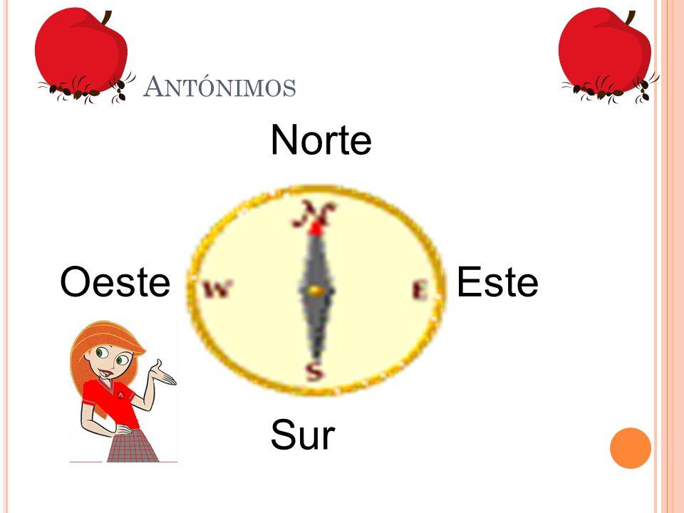 Antónimos Norte Oeste Este Sur