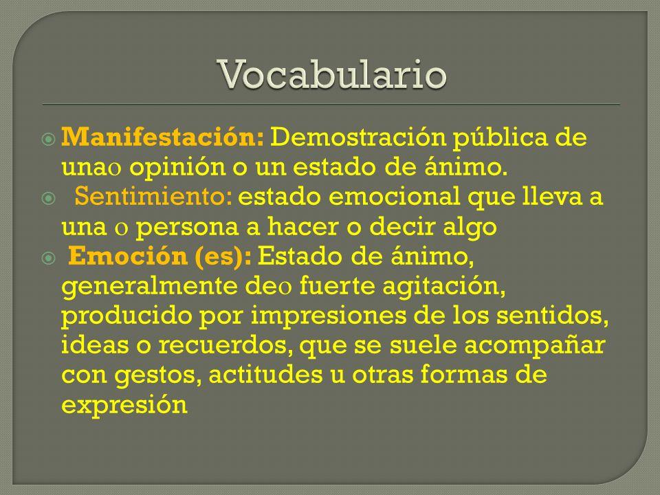 VocabularioManifestación: Demostración pública de una opinión o un estado de ánimo.