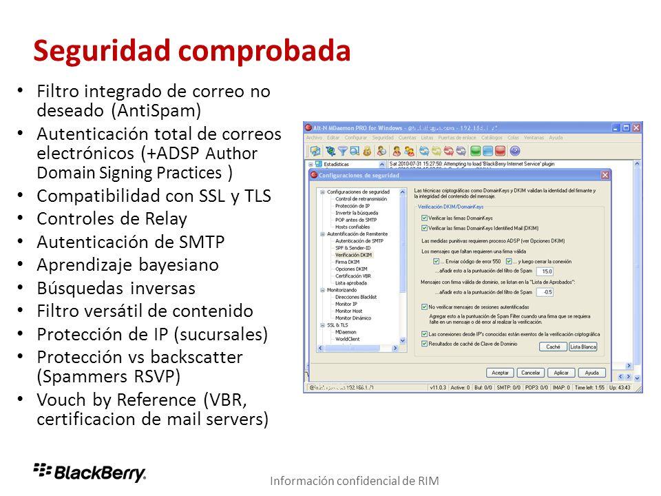 Seguridad comprobada Filtro integrado de correo no deseado (AntiSpam)