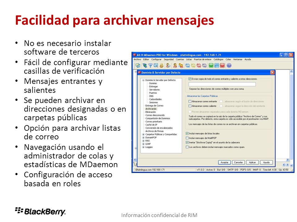 Facilidad para archivar mensajes