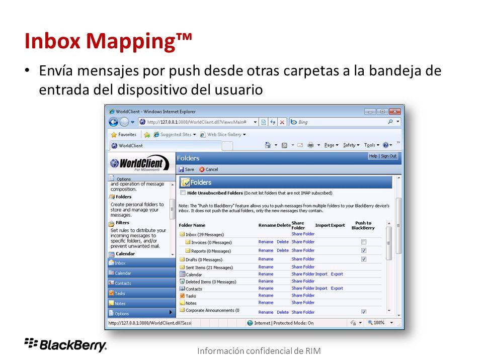 Inbox Mapping™ Envía mensajes por push desde otras carpetas a la bandeja de entrada del dispositivo del usuario.
