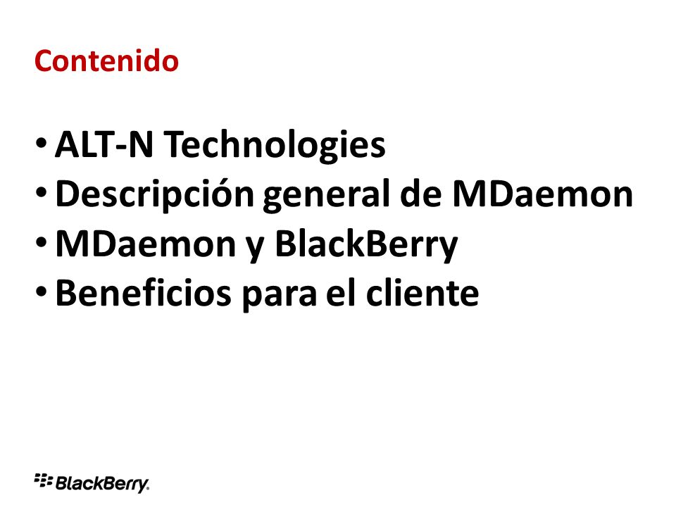 Descripción general de MDaemon MDaemon y BlackBerry