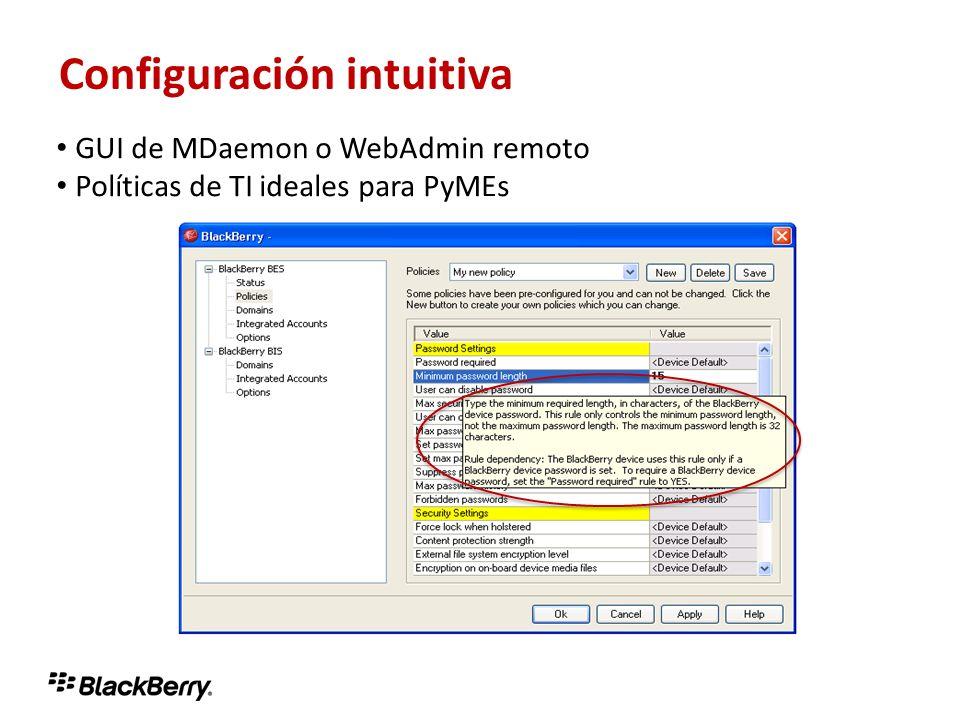Configuración intuitiva