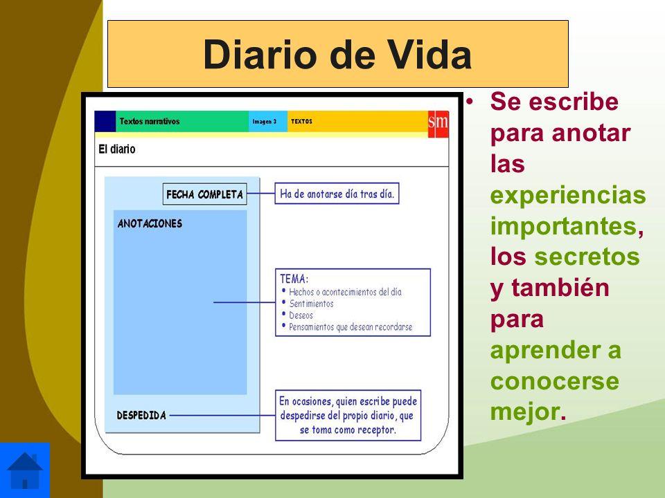 Diario de VidaSe escribe para anotar las experiencias importantes, los secretos y también para aprender a conocerse mejor.