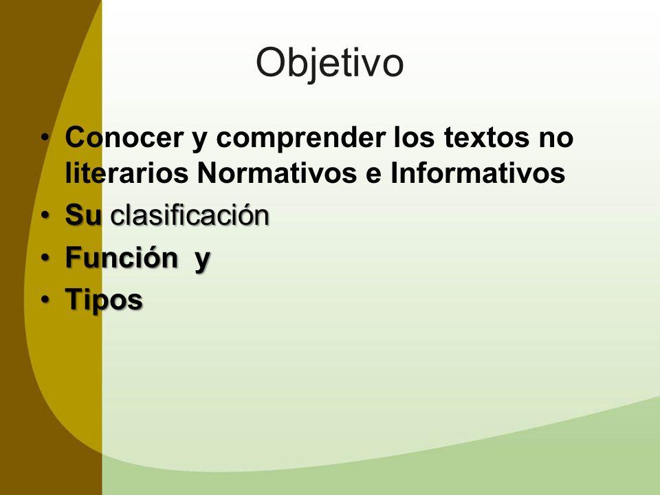 ObjetivoConocer y comprender los textos no literarios Normativos e Informativos. Su clasificación. Función y.