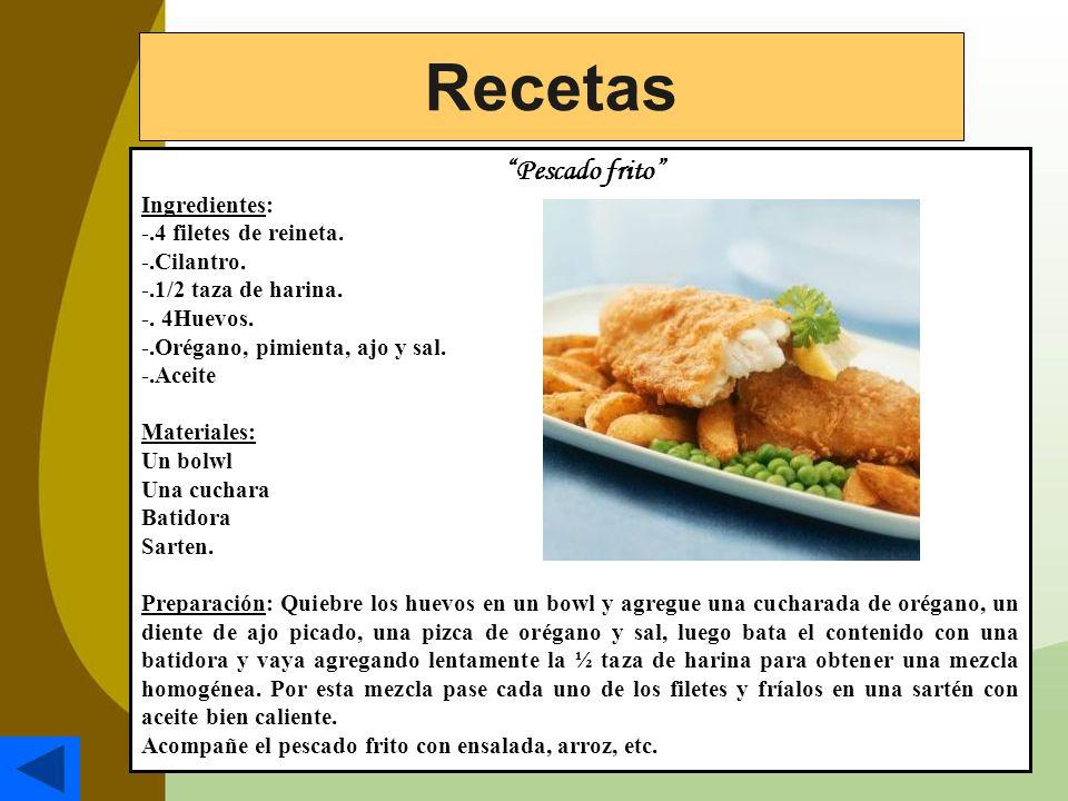 Recetas Pescado frito Ingredientes: -.4 filetes de reineta.
