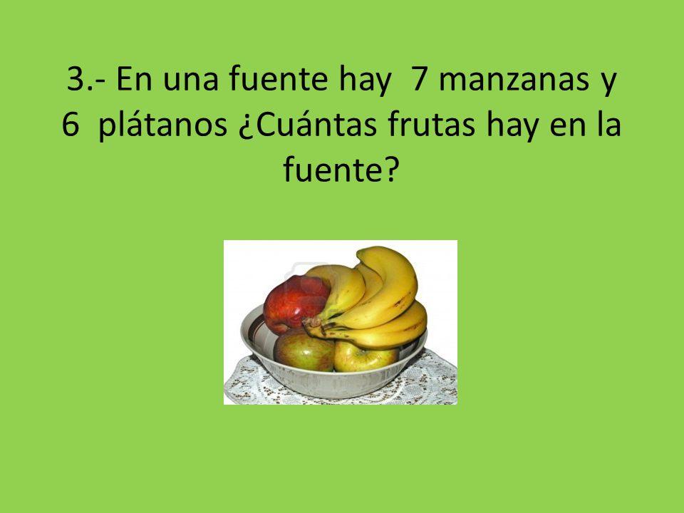 3.- En una fuente hay 7 manzanas y 6 plátanos ¿Cuántas frutas hay en la fuente