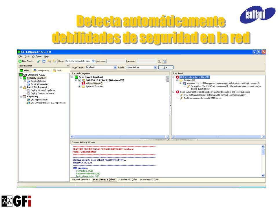 Detecta automáticamente debilidades de seguridad en la red