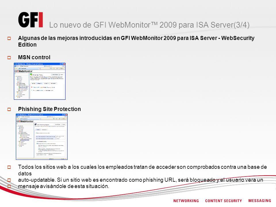Lo nuevo de GFI WebMonitor™ 2009 para ISA Server(3/4)