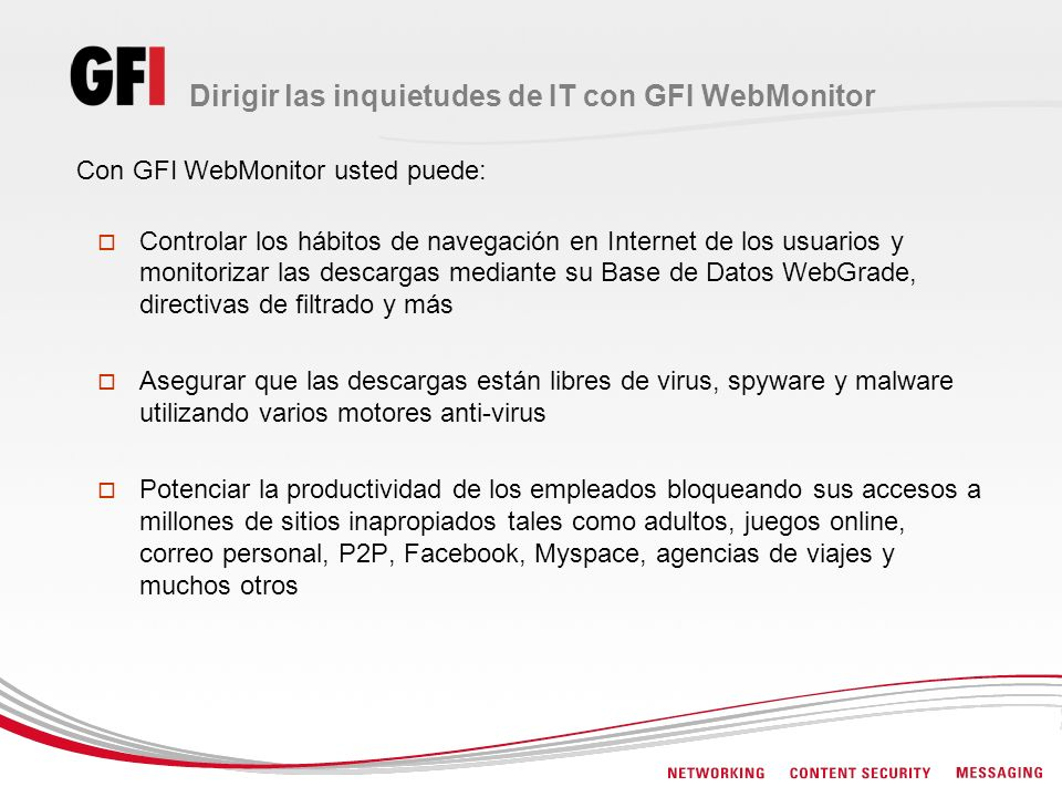 Dirigir las inquietudes de IT con GFI WebMonitor