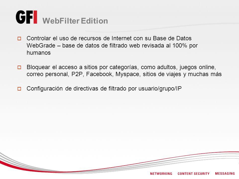 WebFilter Edition Controlar el uso de recursos de Internet con su Base de Datos WebGrade – base de datos de filtrado web revisada al 100% por humanos.