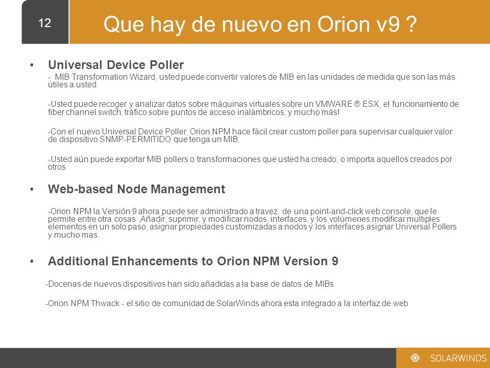 Que hay de nuevo en Orion v9