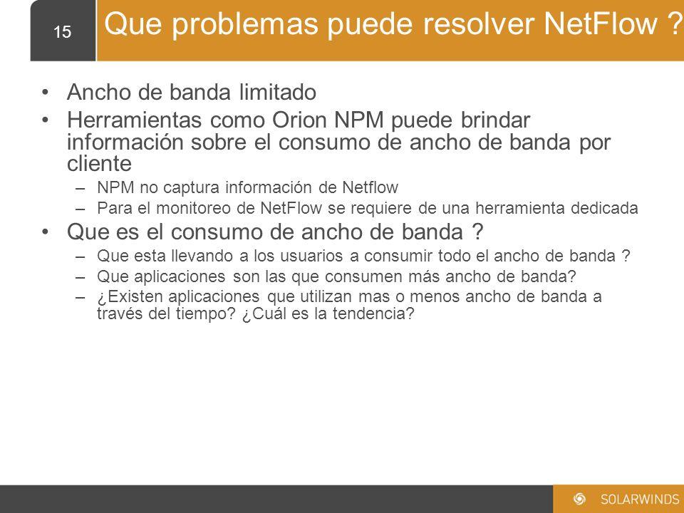 Que problemas puede resolver NetFlow