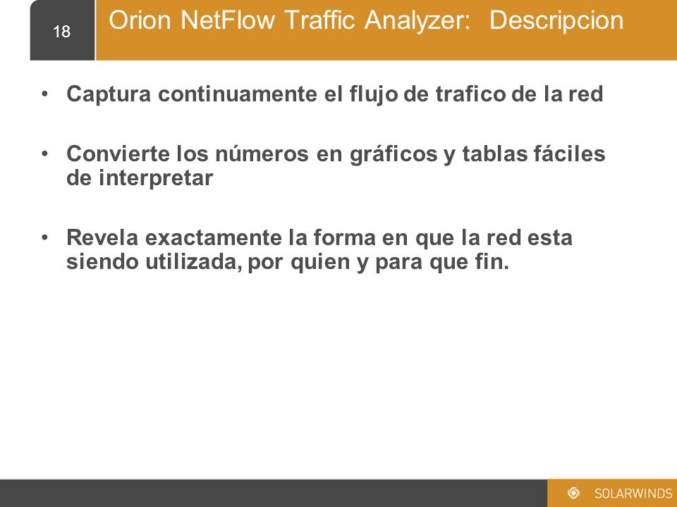 Orion NetFlow Traffic Analyzer: Descripcion