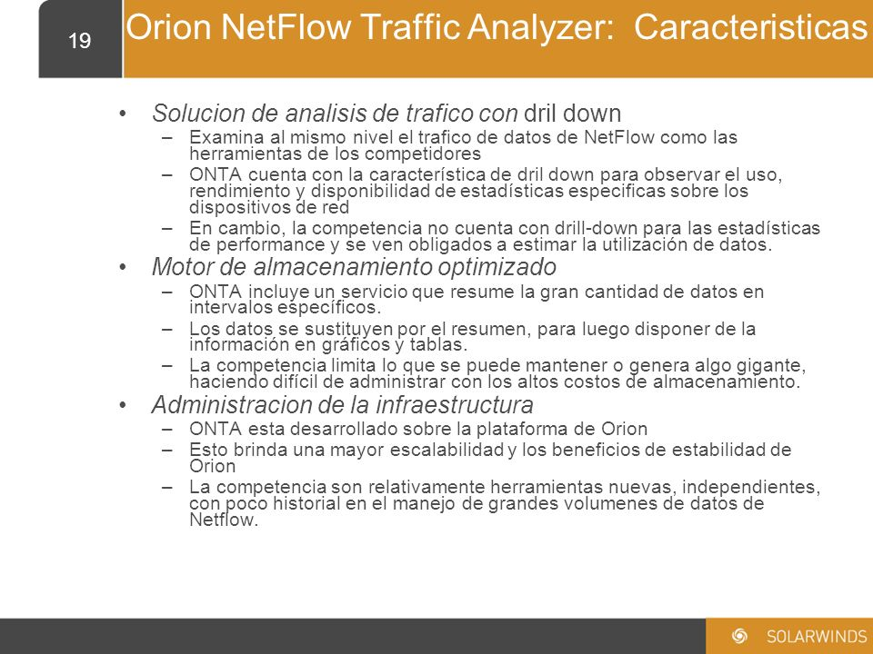 Orion NetFlow Traffic Analyzer: Caracteristicas