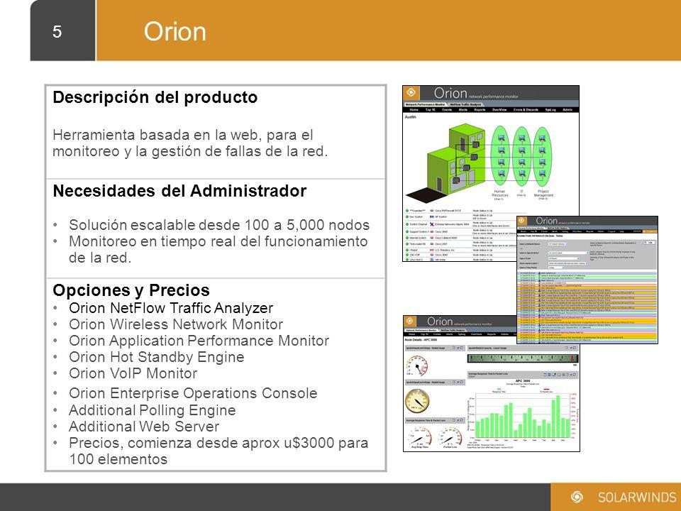 Orion Descripción del producto Necesidades del Administrador