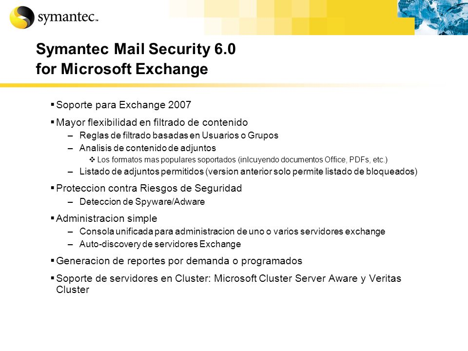 Symantec Mail Security 6.0 for Microsoft Exchange