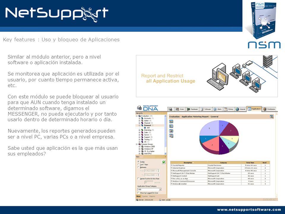 Key features : Uso y bloqueo de Aplicaciones