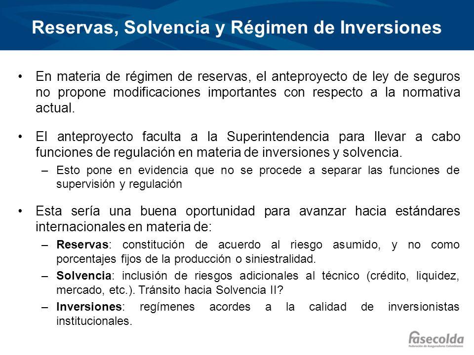 Reservas, Solvencia y Régimen de Inversiones