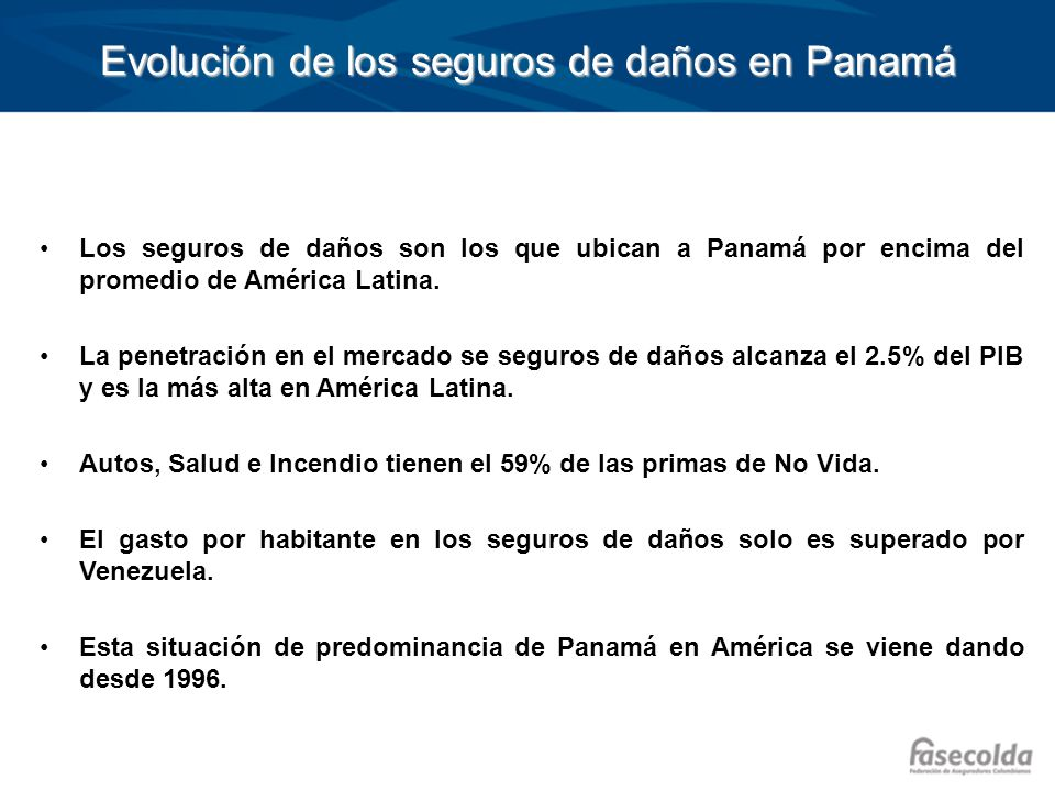 Evolución de los seguros de daños en Panamá