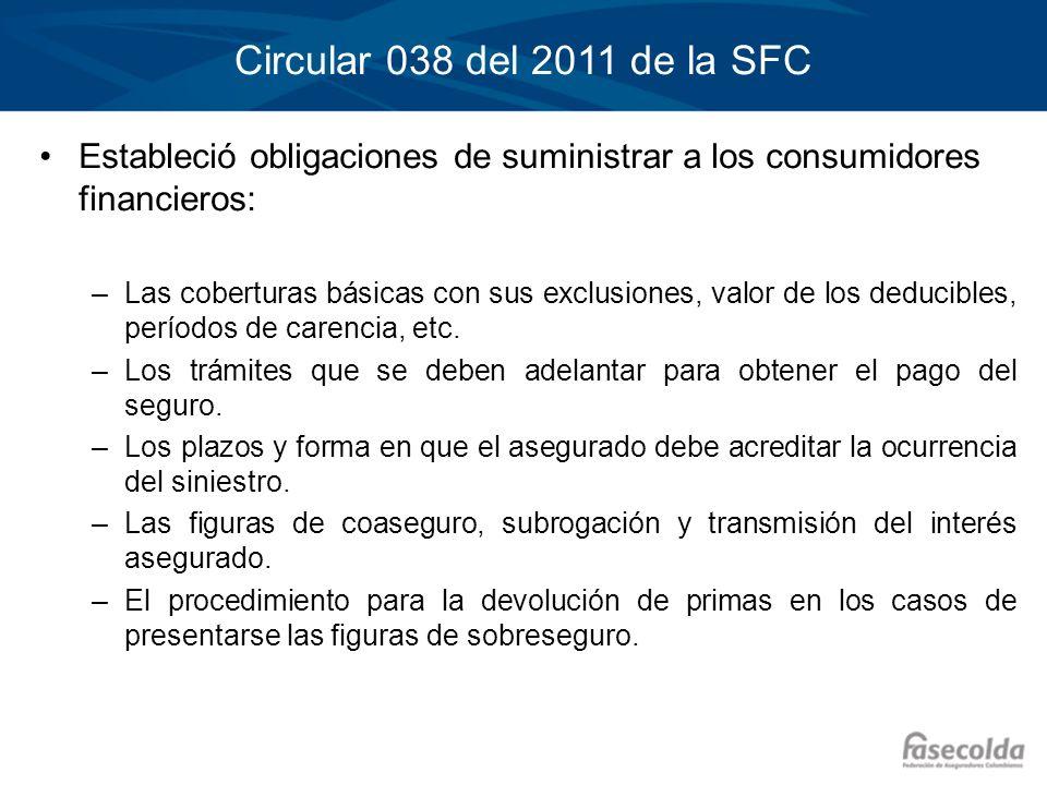 Circular 038 del 2011 de la SFCEstableció obligaciones de suministrar a los consumidores financieros: