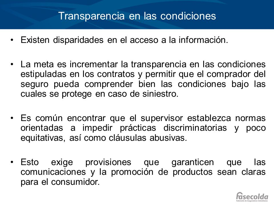 Transparencia en las condiciones