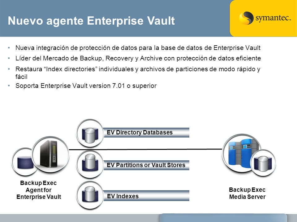 Backup Exec Agent for Enterprise Vault Backup Exec Media Server