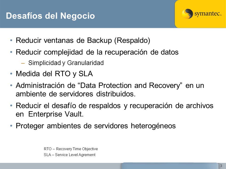 Desafíos del Negocio Reducir ventanas de Backup (Respaldo)