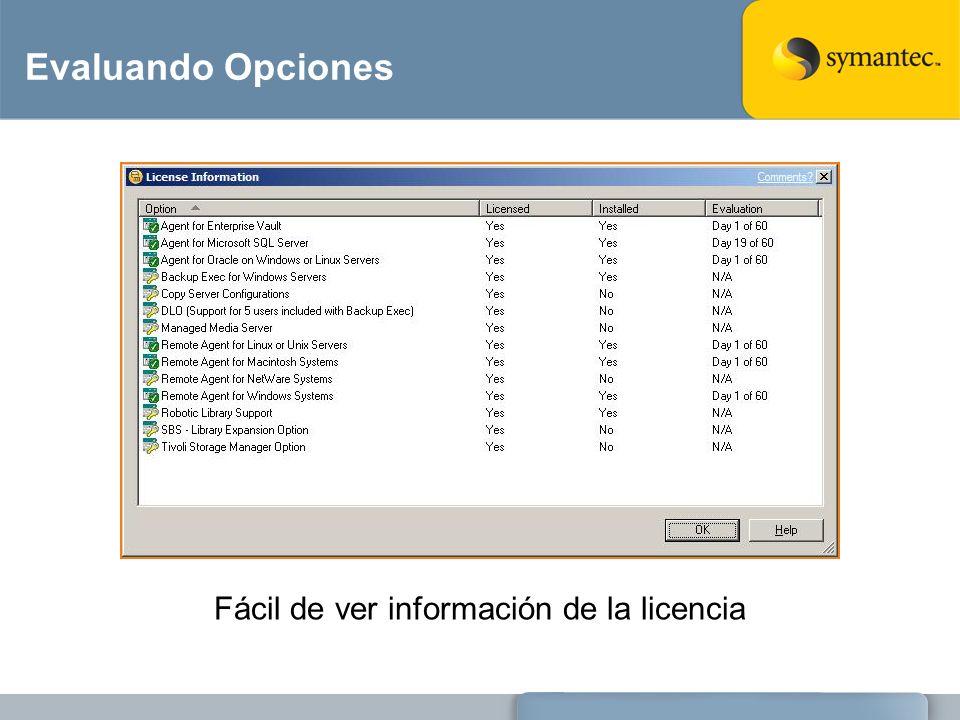 Fácil de ver información de la licencia