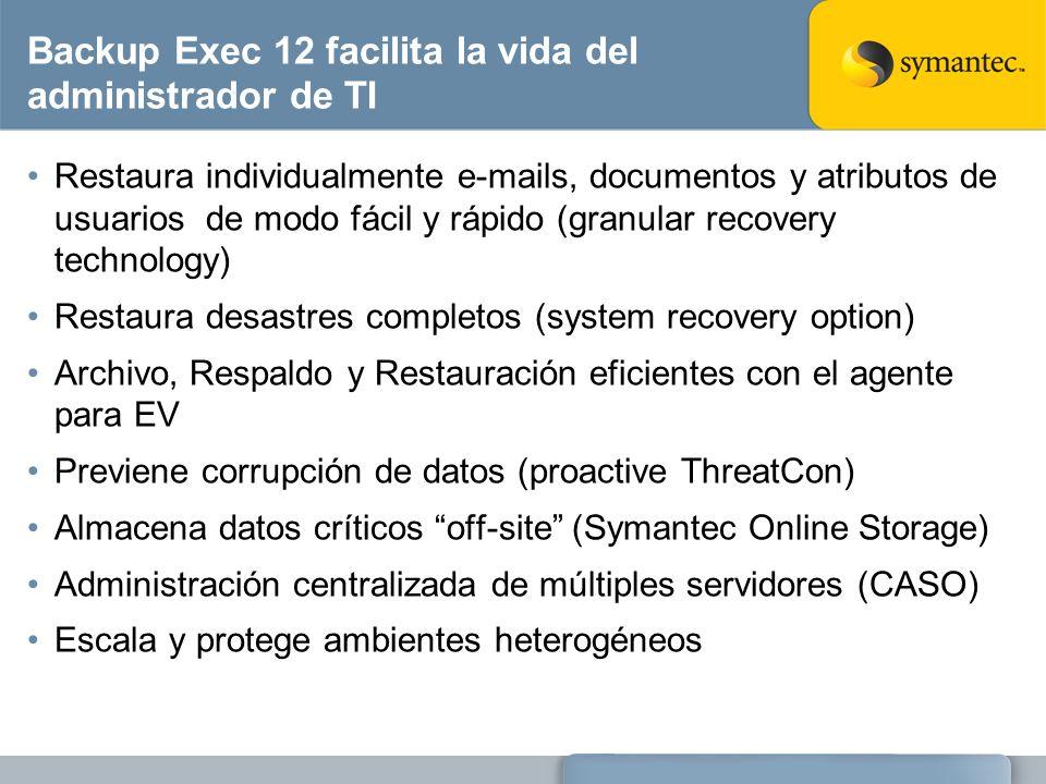 Backup Exec 12 facilita la vida del administrador de TI