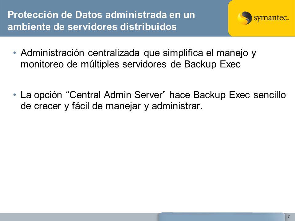 Protección de Datos administrada en un ambiente de servidores distribuidos