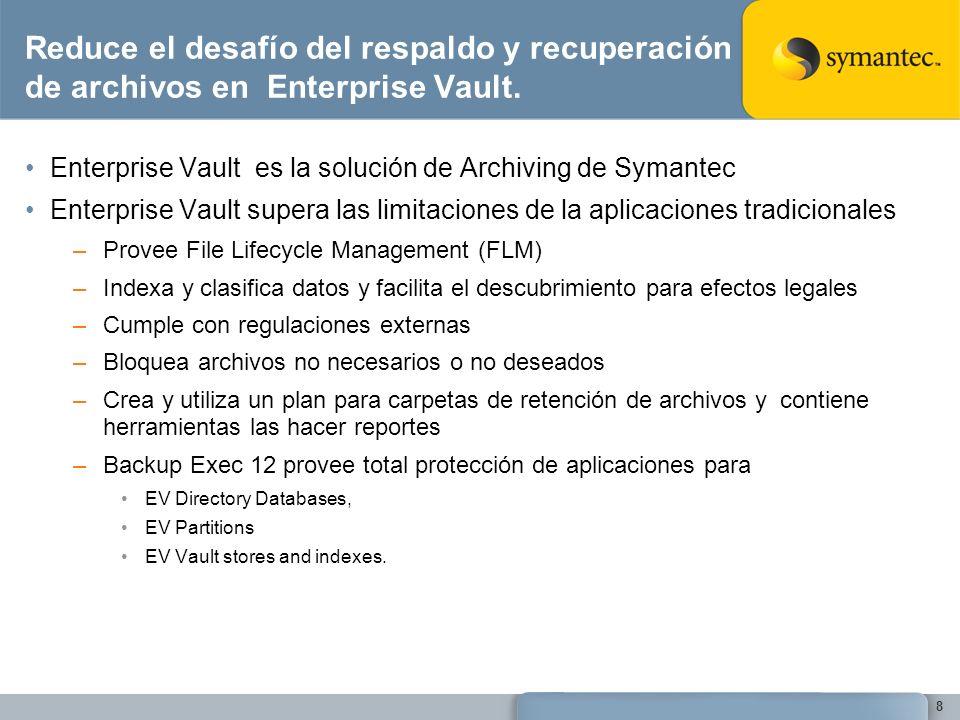 Reduce el desafío del respaldo y recuperación de archivos en Enterprise Vault.