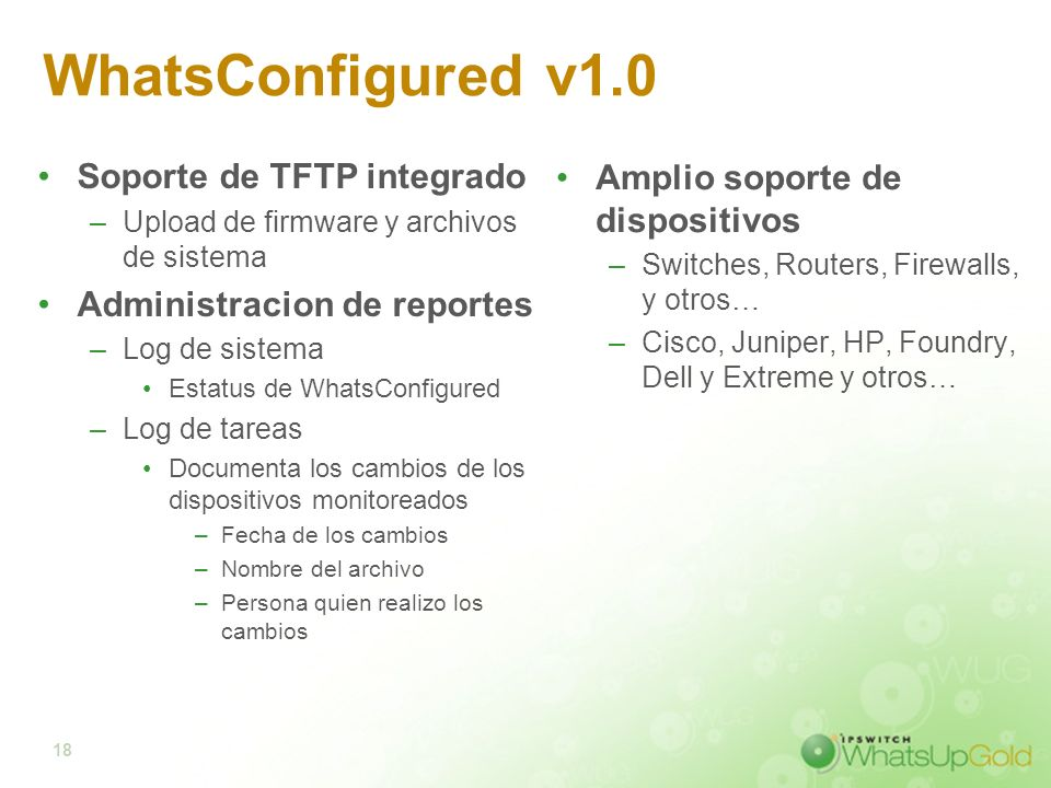 WhatsConfigured v1.0 Soporte de TFTP integrado