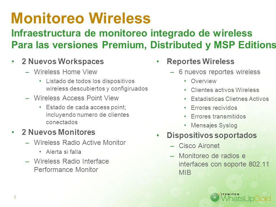 Monitoreo Wireless Infraestructura de monitoreo integrado de wireless