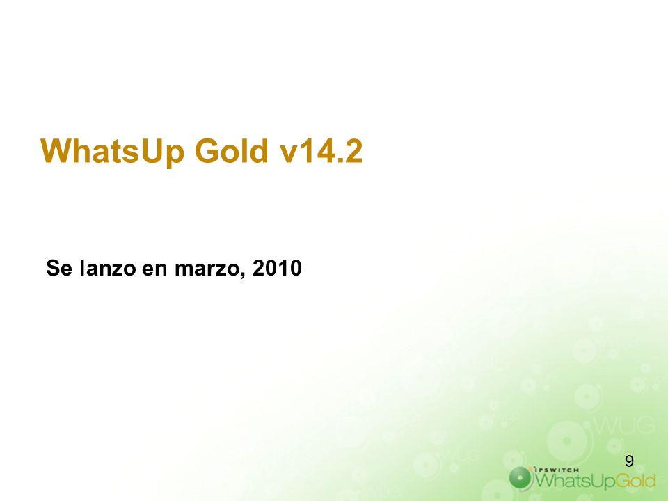 WhatsUp Gold v14.2 Se lanzo en marzo, 2010 9 9 9