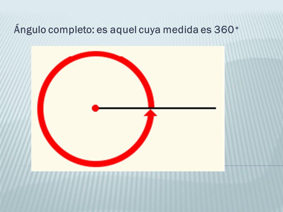 Ángulo completo: es aquel cuya medida es 360°