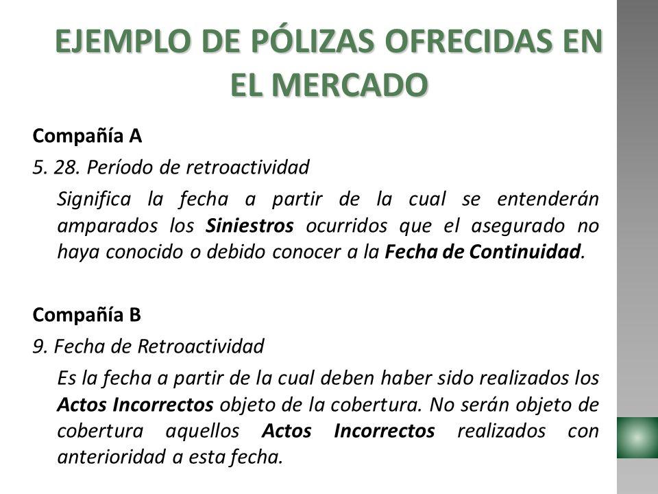 EJEMPLO DE PÓLIZAS OFRECIDAS EN EL MERCADO