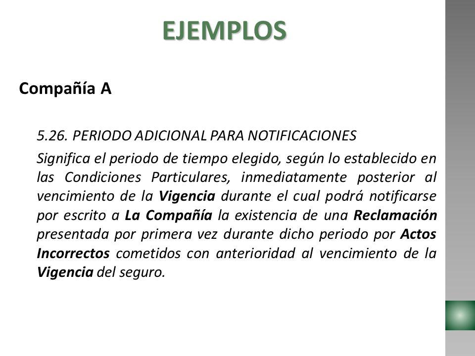 EJEMPLOS Compañía A 5.26. PERIODO ADICIONAL PARA NOTIFICACIONES