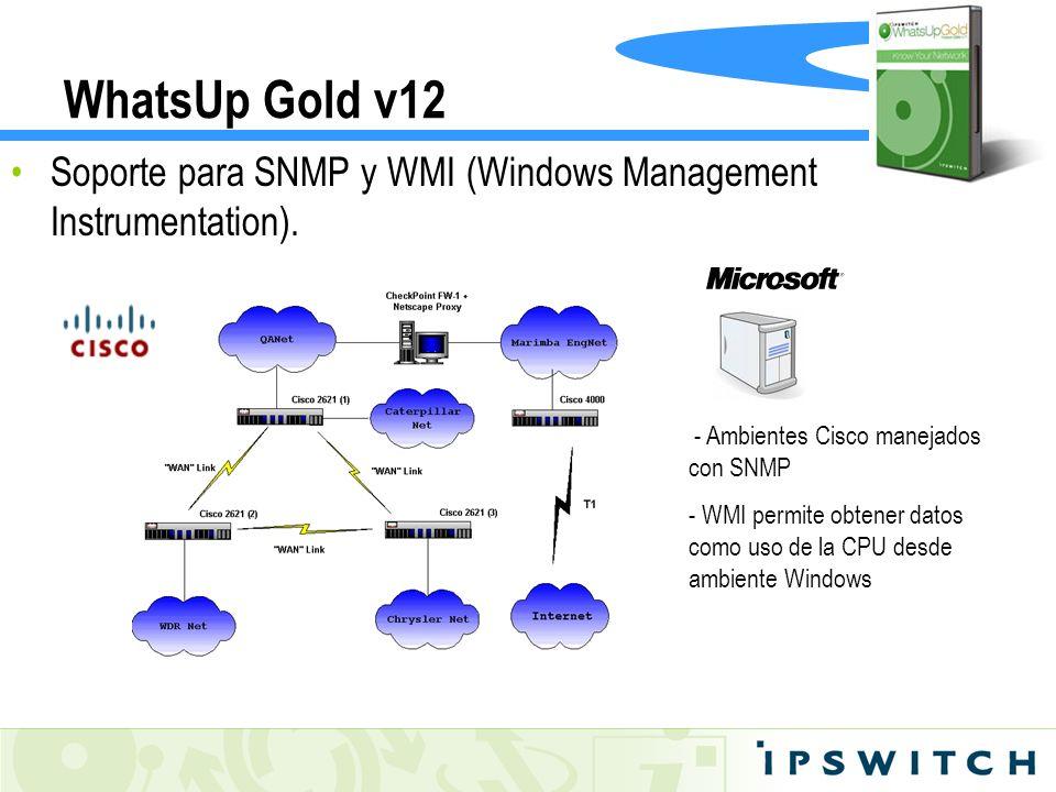 WhatsUp Gold v12Soporte para SNMP y WMI (Windows Management Instrumentation). - Ambientes Cisco manejados con SNMP.