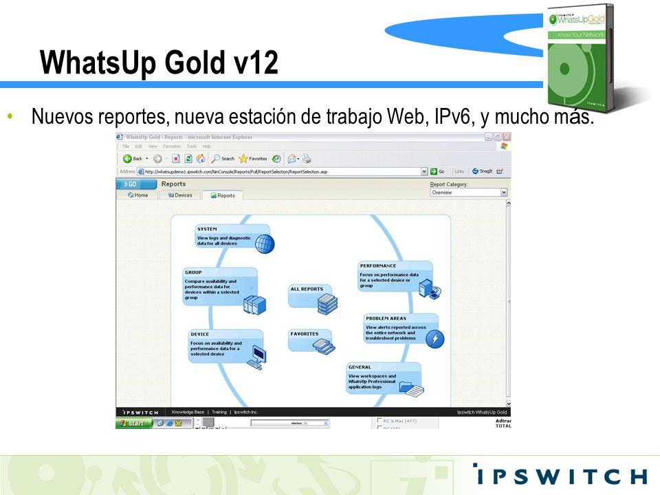 WhatsUp Gold v12Nuevos reportes, nueva estación de trabajo Web, IPv6, y mucho más.