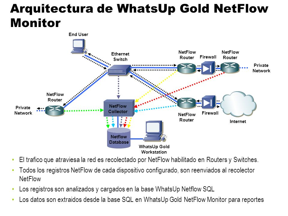 Arquitectura de WhatsUp Gold NetFlow Monitor
