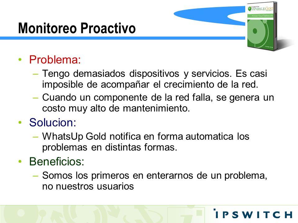 Monitoreo Proactivo Problema: Solucion: Beneficios: