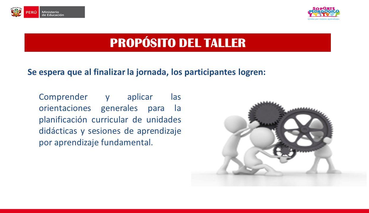 PROPÓSITO DEL TALLER Se espera que al finalizar la jornada, los participantes logren: